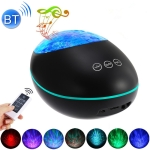 HMT-01  Remote Control Lucky Stone Ocean Projection Light LED Colorful Atmosphere Night Light USB Multifunctional Bluetooth Speaker(Black)