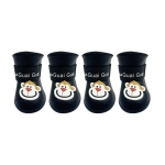 Pet Cartoon Silicone Rain Boots Waterproof Non-Slip Cold-Resistant Dog Shoes, Size: XL(Black)