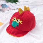 MZ8267 Autumn Cartoon Alphabet Little Dinosaur Embroidery Pattern Children Cap, Size: 48cm Adjustable(Red)