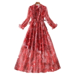 Spring Women National Style Floral Chiffon Dress 82418 (Color:Red Size:XL)