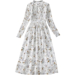 Spring Women Long Sleeve Retro Floral Chiffon Dress 8A674 (Color:White Size:S)