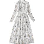 Spring Women Long Sleeve Retro Floral Chiffon Dress 8A674 (Color:White Size:L)
