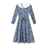 Artistic Lady Spring Dress Lapel High waist Slim A-line Skirt (Color:Blue Size:XL)