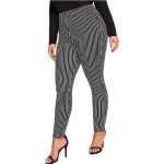 Women Plus Size Casual Loose Striped Trousers (Color:Black Size:XXL)
