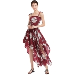 Women Casual Printed Irregular Sling Dress (Color:Wine Red Size:M)