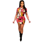 Women Printed Round Neck Colorful Square Dress (Color:As Show Size:L)