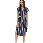 Women Sexy V-neck Striped Printed Mid-length Dress (Color:As Show Size:M)
