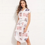Women Casual V-neck Printed Mid-length Dress (Color:As Show Size:L)