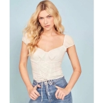 Women Fashion Lace-up Square Neck Low-cut Top (Color:White Size:S)