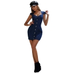 Women Sexy Slim Sleeveless Square Collar Denim Dress (Color:Blue Size:L)