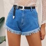Women Retro Fashion Fringed High Waist Denim Shorts (Color:Blue Size:S)