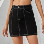 Women Fashion High Waist Hip Denim Skirt (Color:Black Size:M)