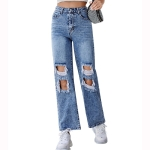 Women Fashion Casual Ripped High Waist Jeans (Color:Blue Size:M)