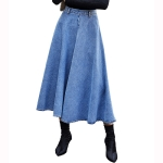 Women Fashion High Waist Big Swing Denim Long Skirt (Color:Blue Size:M)