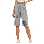 Women Fashion High Waist Hollow Bandage Straight Casual Pants (Color:Grey Size:S)