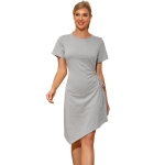 Women Fashion Slim Round Neck Hollow Dress (Color:Grey Size:S)