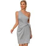 Women Fashion Slim Slanted Shoulder Bandage Sleeveless Dress (Color:Grey Size:S)