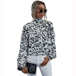 Women Backless Bandage High Neck Long Sleeve Shirt Top (Color:Black White Size:S)