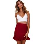 Women Ruffle Stitching Irregular Skirt (Color:Red Size:L)