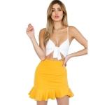 Women Ruffle Stitching Irregular Skirt (Color:Yellow Size:S)