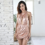 Women Sexy Halter Backless Hollow Sequin Dress (Color:Pink Size:S)