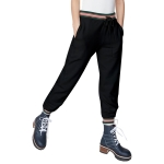 Women High Waist Loose Sport Casual Trousers Pants (Color:Black Size:S)