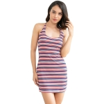Women Fashion Striped Backless Dress (Color:As Show Size:L)