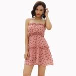 Women Chiffon Polka Dot Tube Top Dress (Color:Pink Size:S)