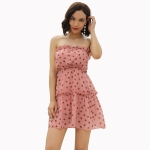 Women Chiffon Polka Dot Tube Top Dress (Color:Pink Size:M)