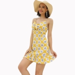 Women Summer Holiday Printed Sling Dress (Color:Yellow Size:S)