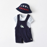 Boy Dinosaur Short Sleeve + Bib Two-piece Suit (Color:Navy Blue Size:90)