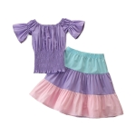 Girls Short-sleeved Loose Blouse Color Long Skirt Two-piece Suit (Color:Purple Size:90)