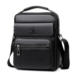 WEIXIER 8681 Litchi Texture PU Leather Men Business Handbag Crossbody Bag (Black)