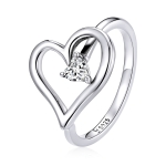 S925 Sterling Silver Shining Wish Heart Women Ring, Size:6