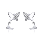S925 Sterling Silver Butterfly Love Women Earrings