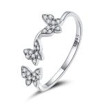 S925 Sterling Silver Fantasy Butterfly Women Open Ring