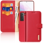 For Samsung Galaxy S21+ 5G DUX DUCIS Hivo Series Cowhide + PU + TPU Leather Horizontal Flip Case with Holder & Card Slots(Red)