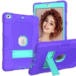 Contrast Color Robot Shockproof Silicone + PC Protective Case with Holder For iPad 9.7 (2018 / 2017)(Purple Mint Green)