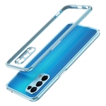 Aurora Series Lens Protector + Metal Frame Protective Case For OPPO Reno5(Light Blue)