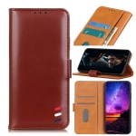 For LG Stylo 7 5G 3-Color Pearl Texture Magnetic Buckle Horizontal Flip PU Leather Case with Card Slots & Wallet & Holder(Brown)