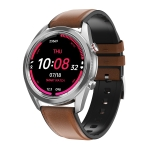 DT91 1.28 inch LTPS LCD Screen IP67 Smart Watch, Support Sleep Monitor / Bluetooth Photograph / Heart Rate Monitor / Blood Pressure Monitoring(Silver Leather Strap)