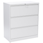 [US Warehouse] Fast Assemble Metal Lateral Storage File Cabinet with Lock & 3 Drawers for Office, Size: 40.5 x 35.4 x 18.1 inch(White)