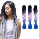 Fashion Color Gradient Individual Braid Wigs Chemical Fiber Big Braids, Length: 60cm(21 Black+Pink+Sapphire)