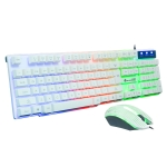 SHIPADOO D600 1000 DPI 104-key Wired RGB Color Backlight Game Mechanical Feel Suspension Keyboard Mouse Kit for Laptop, PC, Length: 1.3m (White)