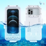 PULUZ 45m/147ft Waterproof Diving Housing Photo Video Taking Underwater Cover Case for iPhone 12 Series, iPhone 11 Series, iPhone X Series, iPhone 8 & 7, iPhone 6s, iOS 13.0 or Above Version iPhone (White)