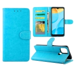 For OPPO A15 Crazy Horse Texture Leather Horizontal Flip Protective Case with Holder & Card Slots & Wallet & Photo Frame(Baby Blue)