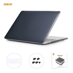 ENKAY 3 in 1 Crystal Laptop Protective Case + EU Version TPU Keyboard Film + Anti-dust Plugs Set for MacBook Pro 16 inch A2141 (with Touch Bar)(Black)