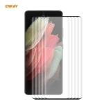 5 PCS For Samsung Galaxy S21 Ultra ENKAY Hat-Prince 0.26mm 9H 3D Explosion-proof Full Screen Curved Heat Bending Tempered Glass Film