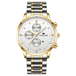 FNGEEN W5128 Men Three Eyes Subdial Luminous Quartz Watch Student Simple Watch(Gold And White Surface)
