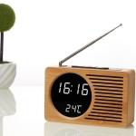 Horizontal Strip Bamboo Mirror White Lamp Multifunctional Retro Radio Wooden Alarm Clock Mute Electronic Clock